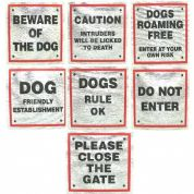 Dog Signs for Dog Owners 8cm x 8cm with Red Boarder good Selection